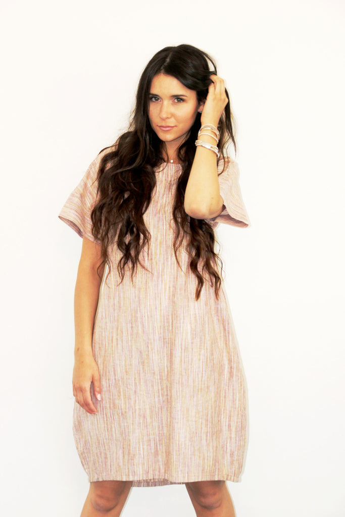 Loose Hi-Low Dress with Arm Band Natural Stripe (Linen),Dresses - KassKo