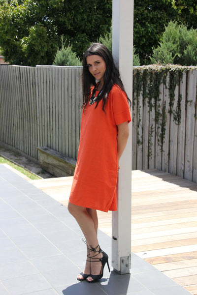 Loose Hi-Low Dress with Arm Band Orange,Dresses - KassKo