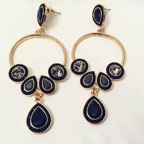 Black and gold stud hoop earrings with teardrop pendants
