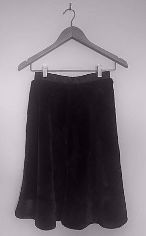 Faux Fur Lined Skirt - Black