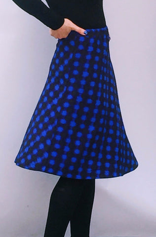 Blue Black Print Skater Skirt - KassKo