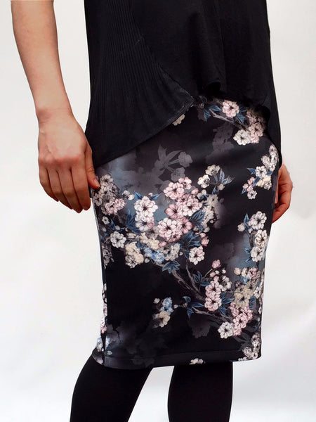 Black and Pink Floral Stretch Pencil Skirt - Midi,Skirts - KassKo