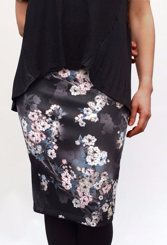 Black and Pink Floral Stretch Pencil Skirt - Midi