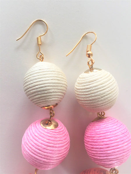 Triple Pink Bauble Gold Drop Earrings,Jewellery - KassKo