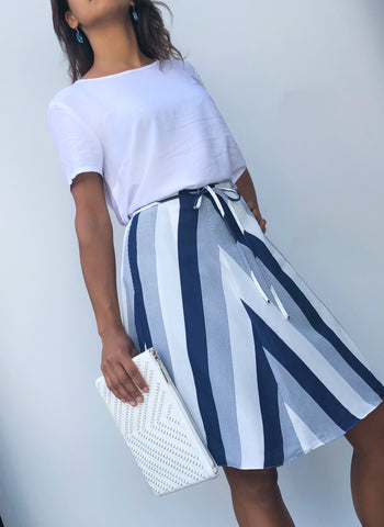 Knee length navy blue and white stripe polyester wrap skirt one size