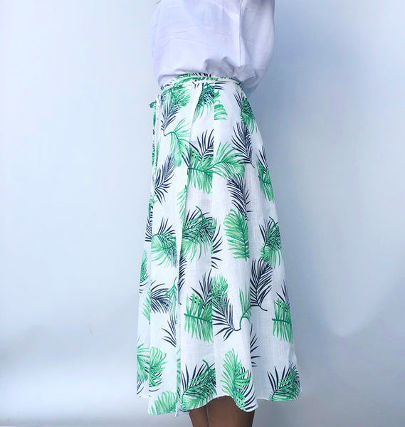 Midi mid length green navy and white tropical leaf design cotton wrap skirt - one size