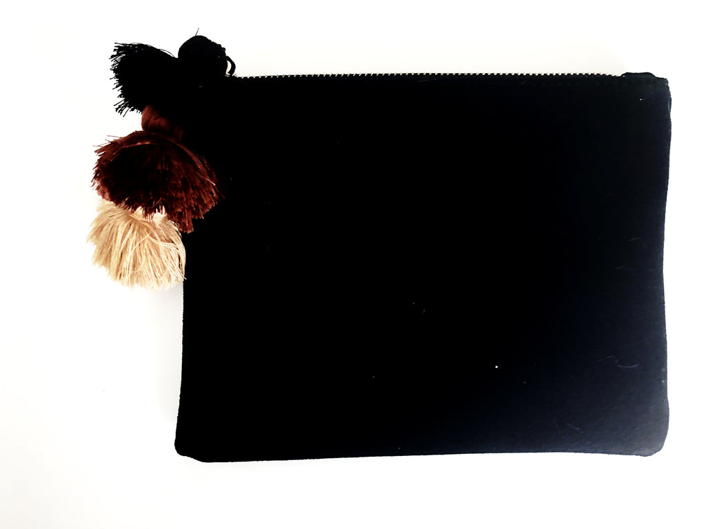 Black suede clutch with triple tassel