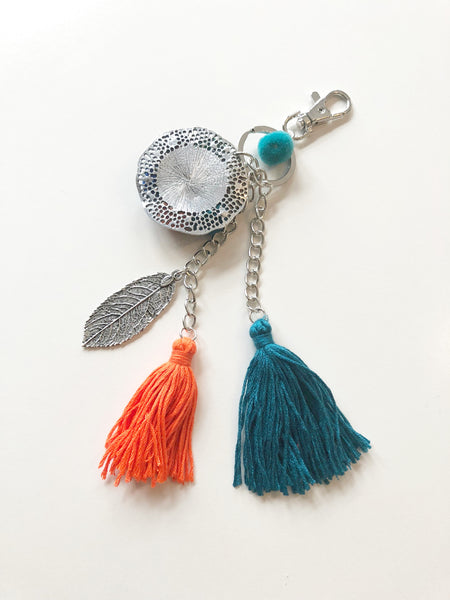 Metal tassel and pom pom key ring