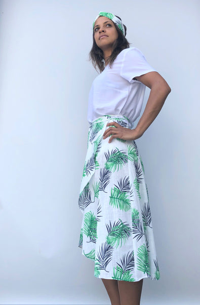 Midi mid length curved hem green navy and white tropical design cotton wrap skirt - one size