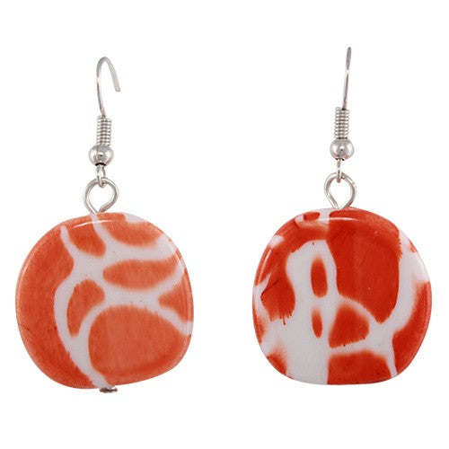 Multi coloured swirl round disk hang down resin earrings (More colours)