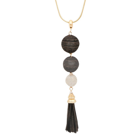 Long Gold and Black Sphere Chain Necklace