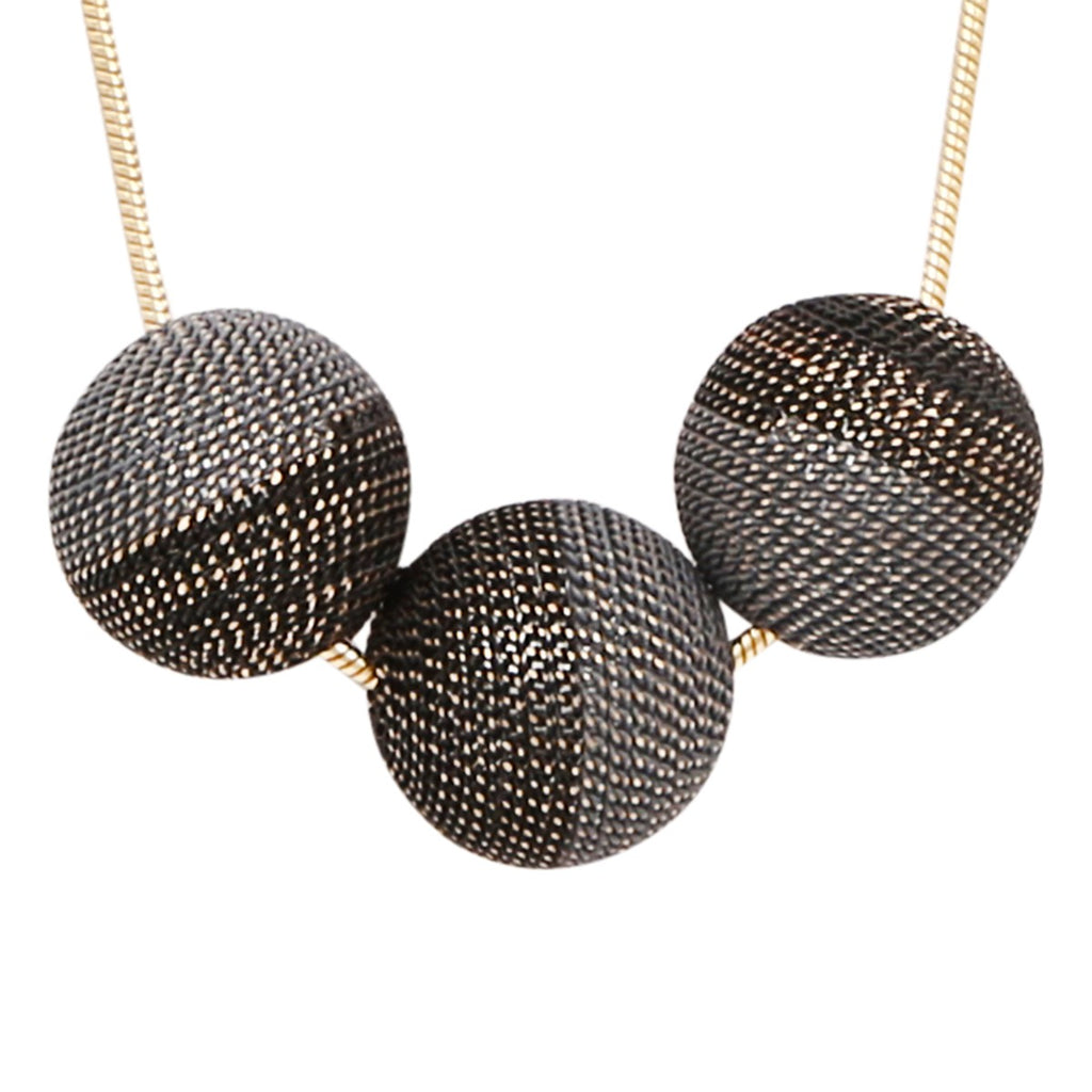 Short Gold Grey and Black Three Sphere Chain Necklace,Jewellery - KassKo