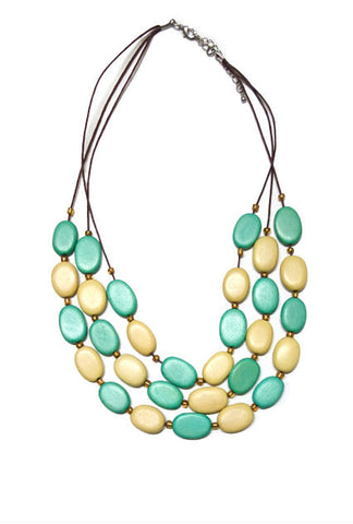 Multi Bead 3 Row Necklace,Jewellery - KassKo