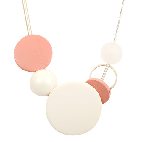 Peach and white large disk and bead necklace