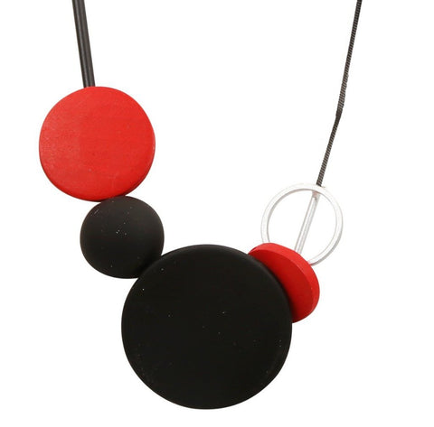 Red and black large disk and bead necklace,Jewellery - KassKo
