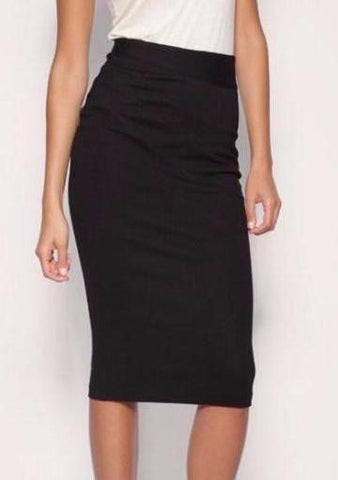 Black Straight Stretch Pencil Skirt With Panel