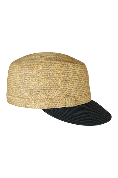 Natural Two Tone Hat Cap with Black Contrast Brim,Hats - KassKo