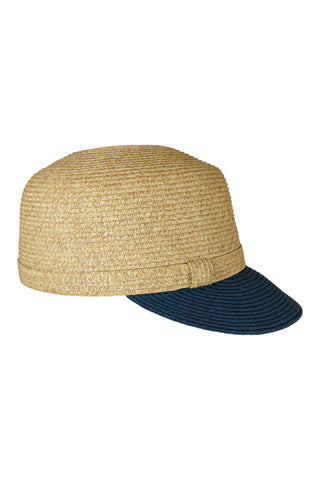 Natural Two Tone Hat Cap with Navy Contrast Brim,Hats - KassKo