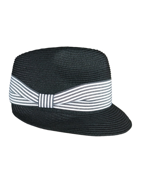 Navy Trilby Hat / Cap with Stripe Trim