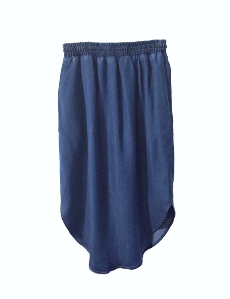 Kerry Gathered Denim Skirt,Bottoms - KassKo