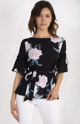 Floral Ruffle Short Sleeve Top With Waist Tie - Pre Order