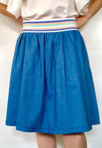 Gathered Denim Skirt With Pastel Stripe Elastic