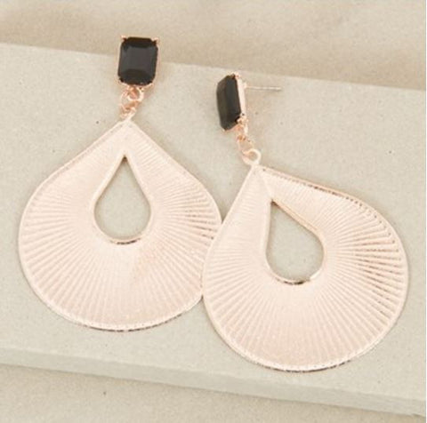 Gold and Black Fan Earrings,Jewellery - KassKo