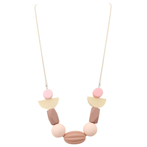 Pink short multi disk and bead necklace with snake chain