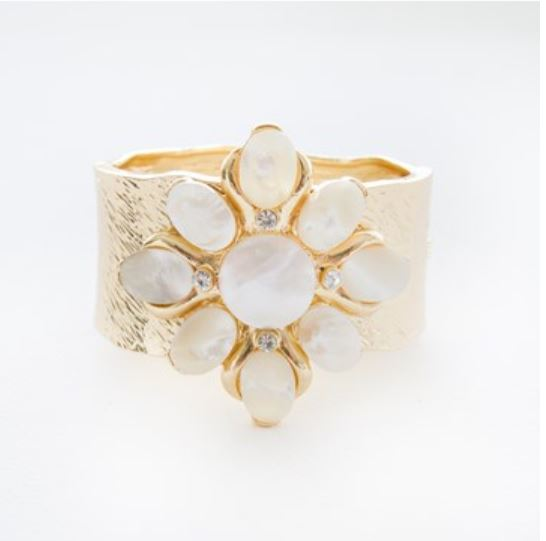 flower beaten gold metal cuff bangle bracelet KassKo