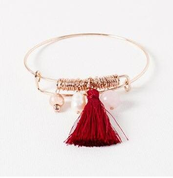 Rose Gold Bead and Burgundy Tassel Adjustable Bracelet