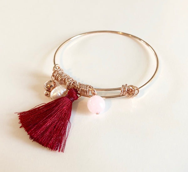 Rose Gold Bead and Burgundy Tassel Adjustable Bracelet,Jewellery - KassKo