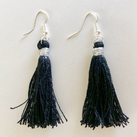 Black Tassel Hang Down Earrings