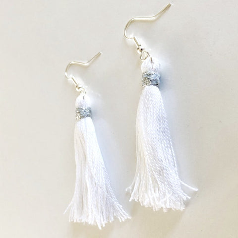 White Tassel Hang Down Earrings, - KassKo