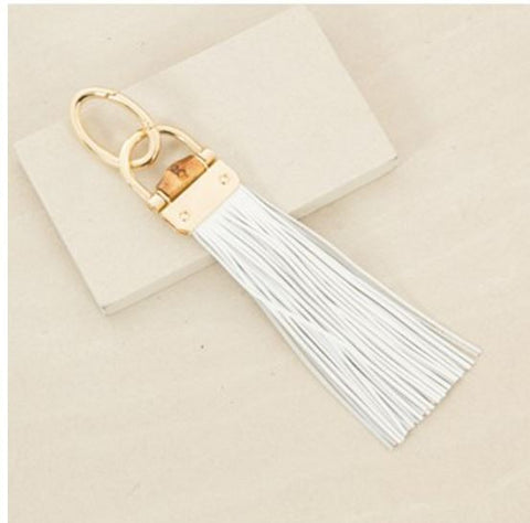 Bamboo Flat Leather Tassel Keyring - White,Keyrings - KassKo
