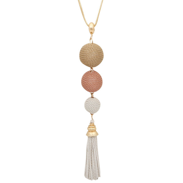 Long Gold and Pink Sphere Chain Necklace