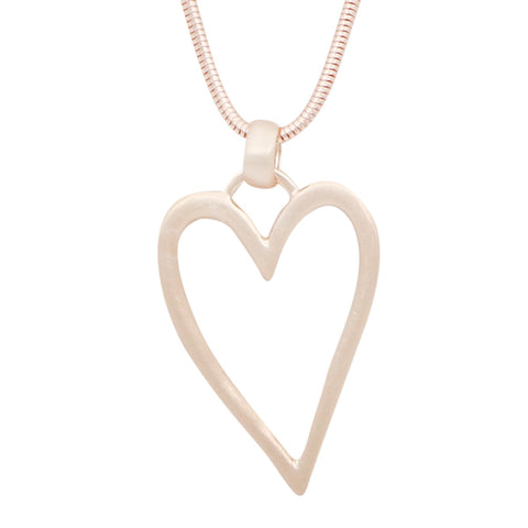Heart Pendant Necklace - Rose Gold