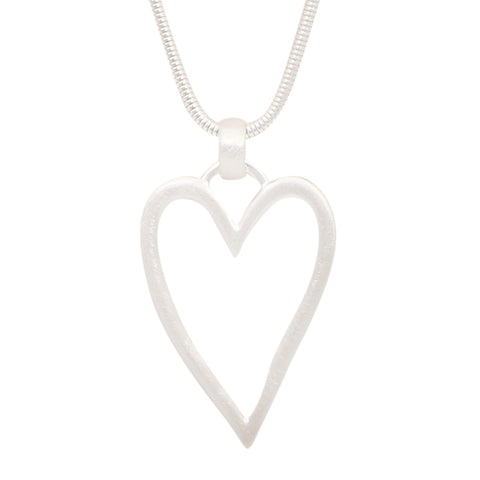 Heart Pendant Necklace - Silver