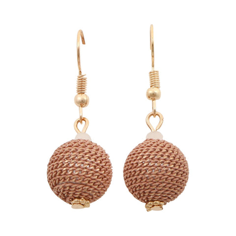 Pink Sphere Chain Gold Earrings