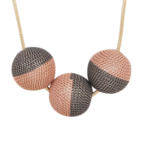 Short Gold and Pink Three Sphere Chain Necklace