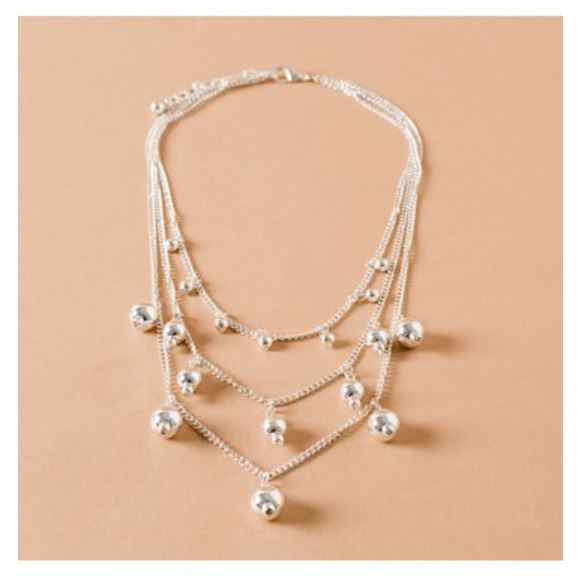 Silver multi chain ball short necklace