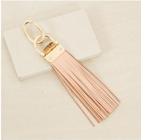 Bamboo Flat Leather Tassel Keyring - Peach,Keyrings - KassKo
