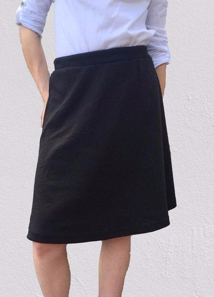 Black Print Stretch Skater Skirt (50cm),Skirts - KassKo