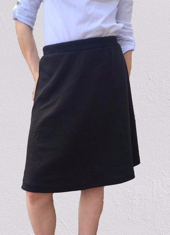Black Print Stretch Skater Skirt (50cm)