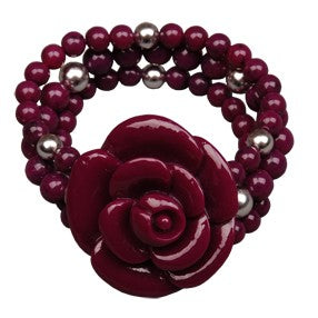 Purple resin flower bead triple bracelet cuff