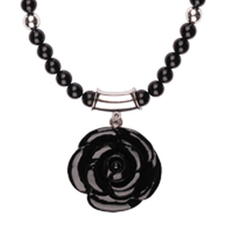 Black resin flower bead short necklace