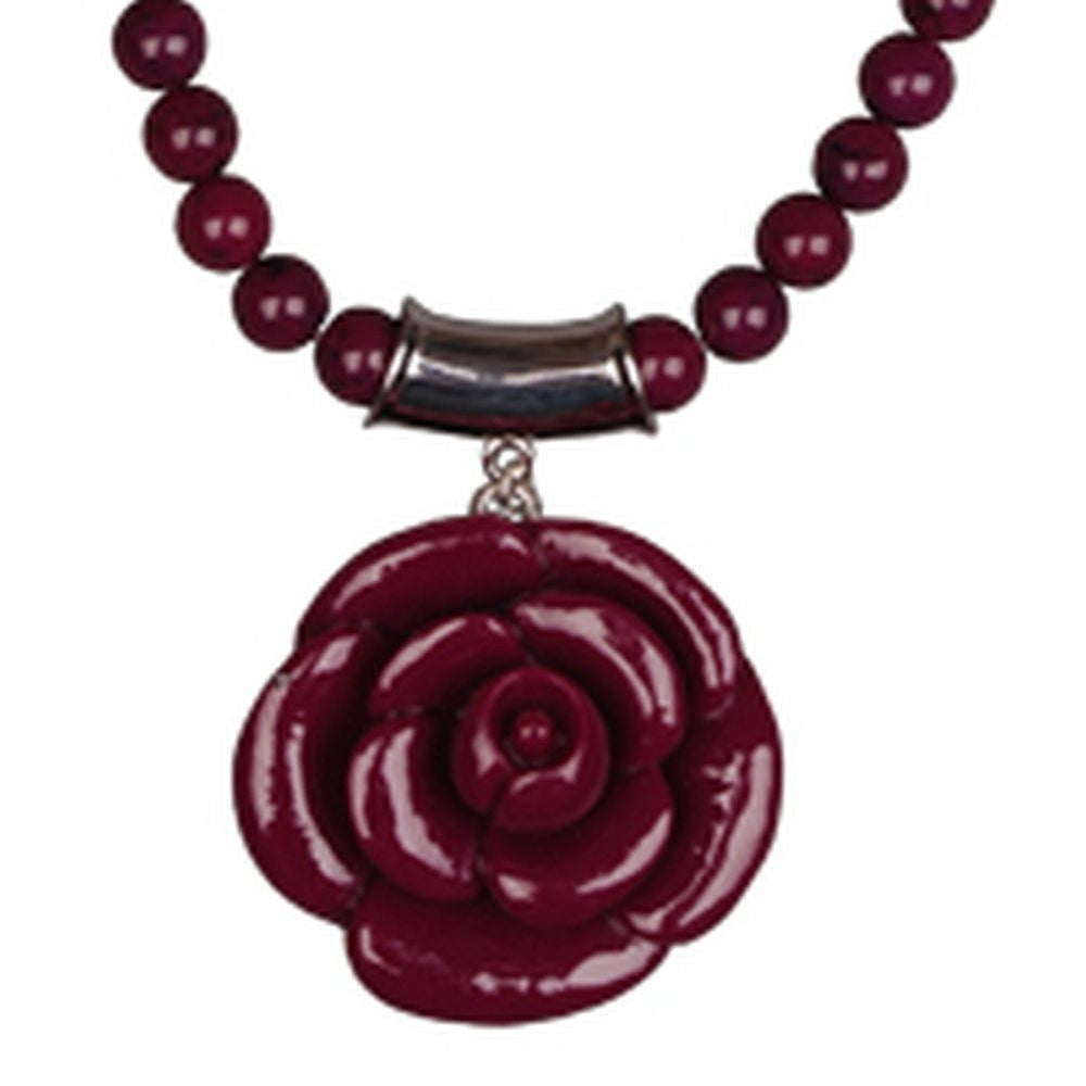 Purple resin flower bead short necklace
