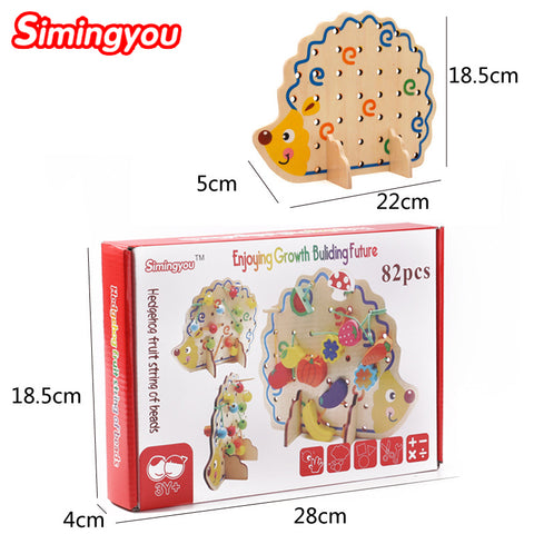 Montessori Early Education, Wooden Toy Hedgehog with Fruit Beads