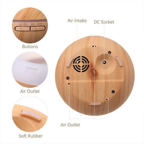 Wooden Humidifier with Aroma Lamp