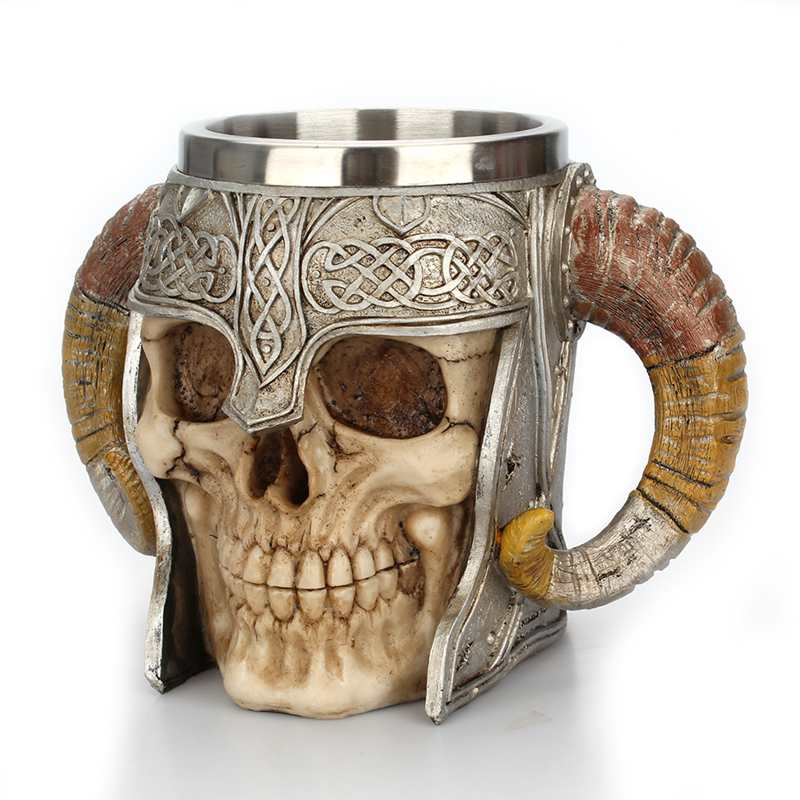 Warrior Stainless Steel Skull Mug