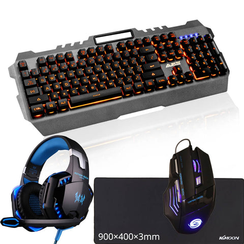 Gaming Mechanical Feel Keyboard+Gaming Mouse+Large Mouse Pad+Headset